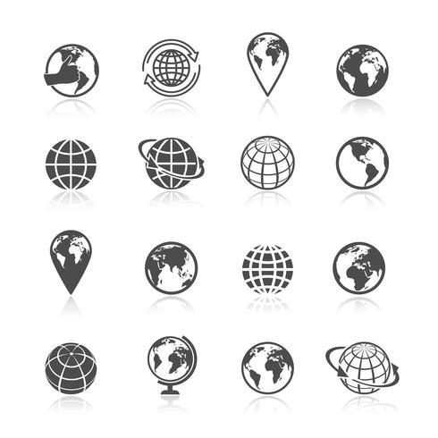 Globo terra ícones vetor