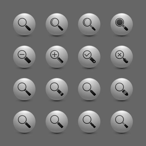 Amplie o conjunto de ícones de lentes vetor