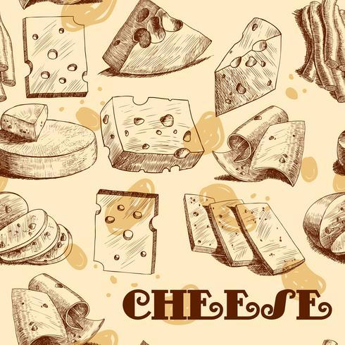 Esboço de queijo sem costura papel de parede vetor