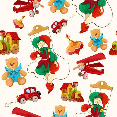 Brinquedos coloridos desenhados padrão sem emenda vetor