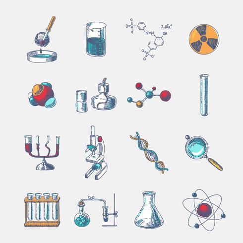 Conjunto de ícones de química vetor
