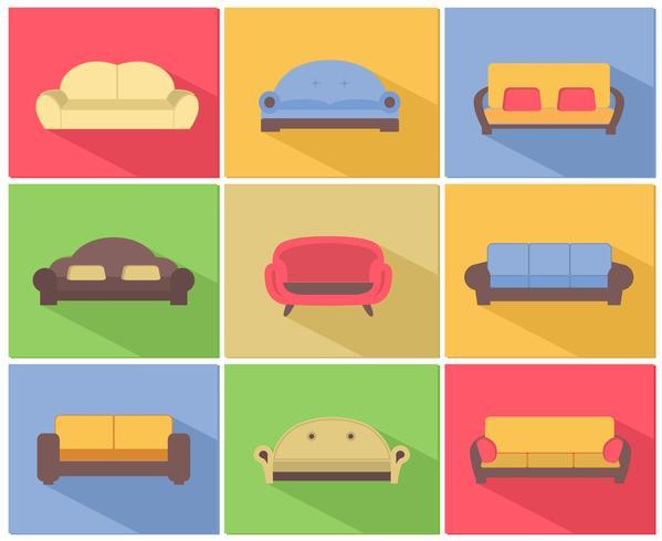 Conjunto de ícones de sofás e sofás vetor