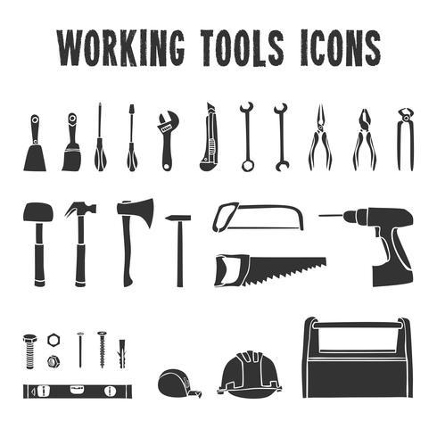 Conjunto de ícones de caixa de ferramentas de trabalho vetor