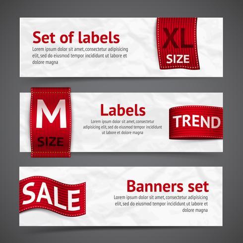 Banners de etiquetas de roupa vetor