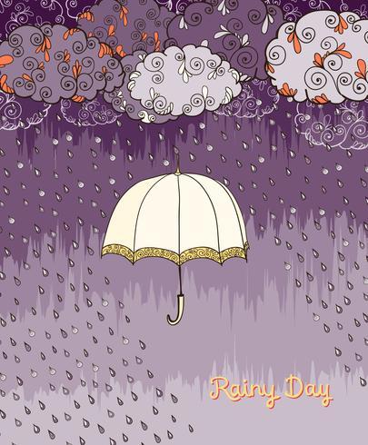 Cartaz de tempo de dia chuvoso de Doodles vetor