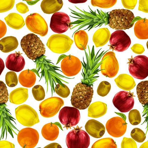 Padrão sem emenda de frutas tropicais vetor