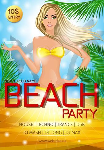 Cartaz do partido da praia do clube de noite vetor