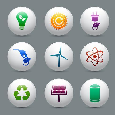 Conjunto de botões de energia e ecologia vetor