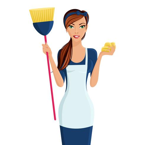 Mulher jovem, limpador vetor