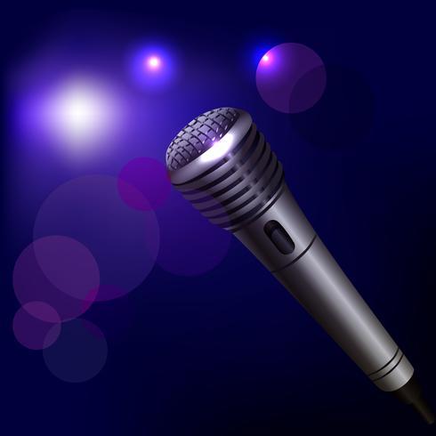 Emblema do microfone em fundo escuro vetor