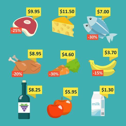 Comida de supermercado com etiquetas de preço vetor