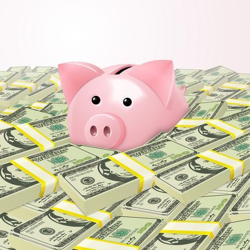 Piggybank em pilha de dinheiro vetor