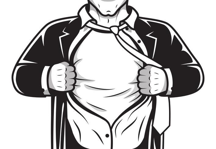 Camisa de abertura de herói em quadrinhos vetor
