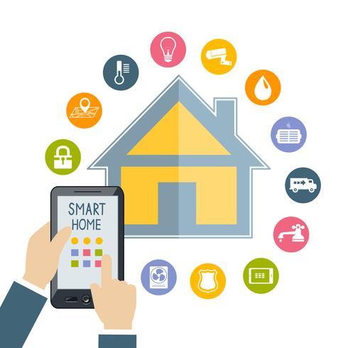 Mão segurando o celular controla casa inteligente vetor