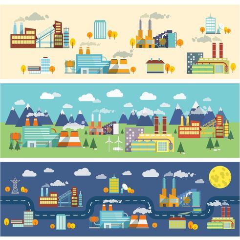 Banners horizontais de edifícios de indústria vetor