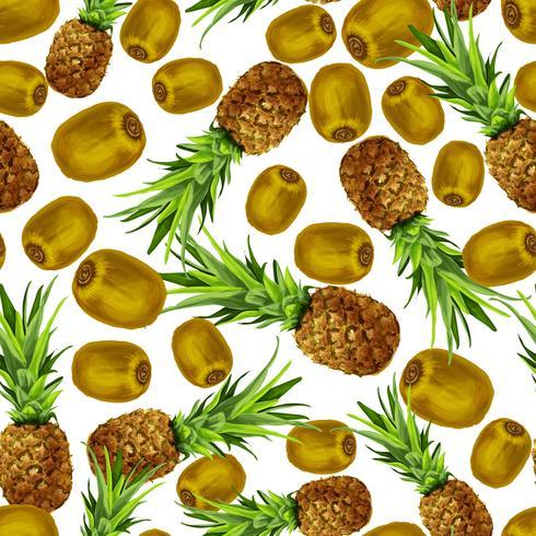 Padrão sem emenda de kiwi abacaxi vetor