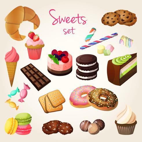 Doces e conjunto de pastelaria vetor