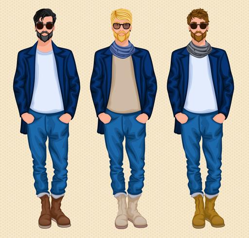 Conjunto de homem hipster vetor