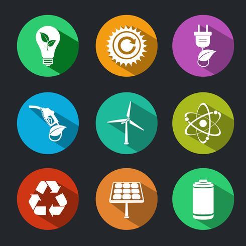 Conjunto de ícones de energia plana e ecologia vetor