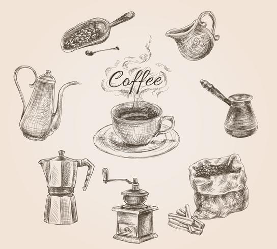 Conjunto de café retrô de mão desenhada vetor