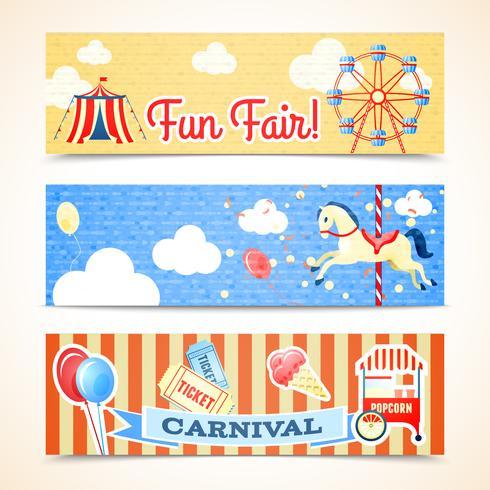 Banners de carnaval vintage horizontais vetor