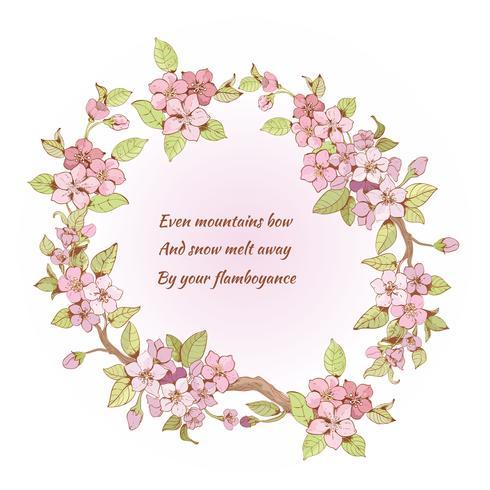 Quadro de cerejeira com poema vetor