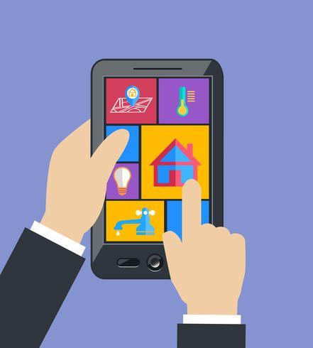 Mão segurando o tablet controla utilitários domésticos inteligentes vetor