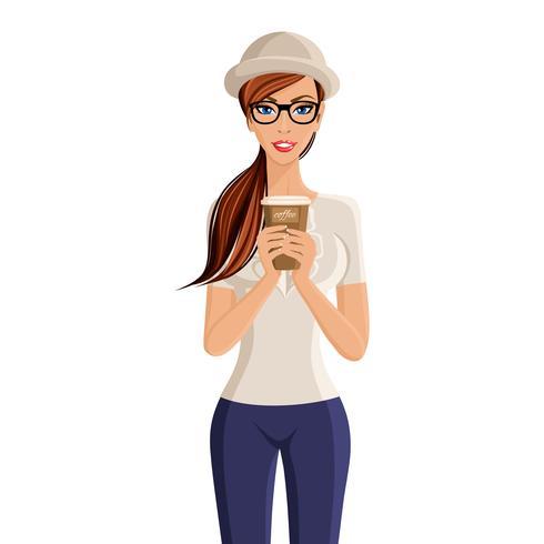 Mulher, copo café, retrato vetor