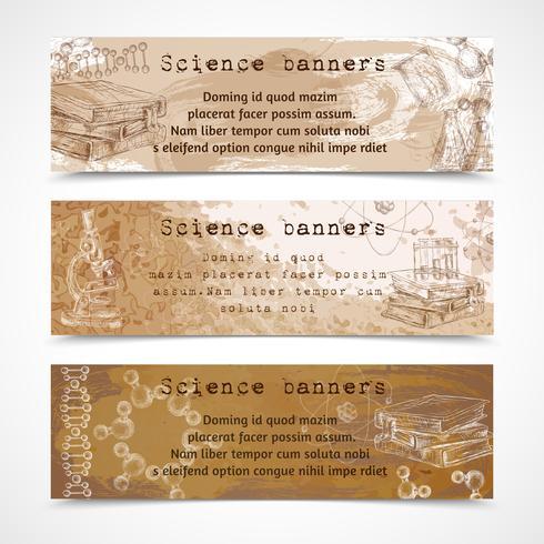 Banners de vintage de esboço de ciência vetor