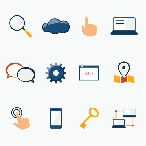 Conjunto de ícones de serviços de marketing na Internet vetor