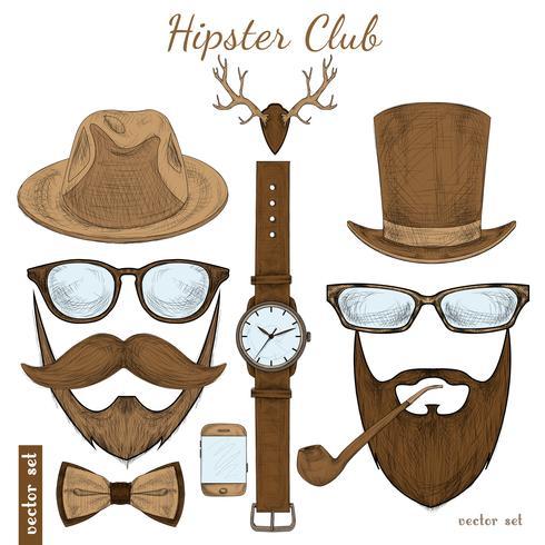 Acessórios de clube hipster vintage vetor