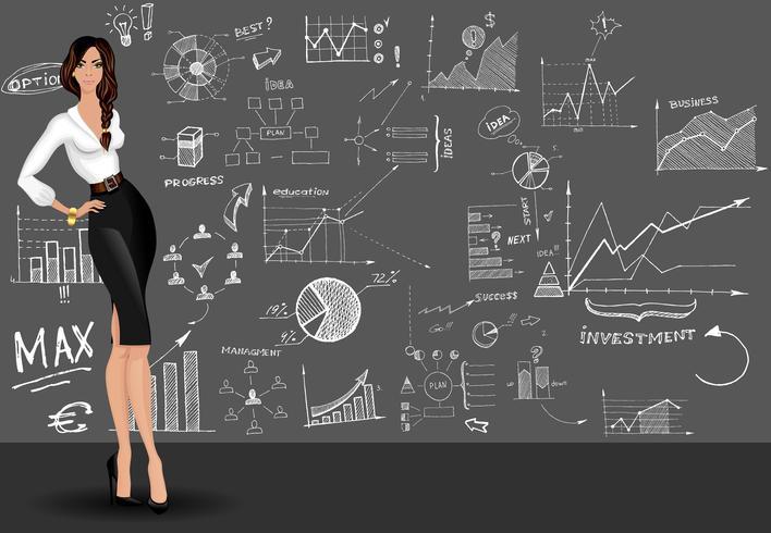 Fundo de doodle de mulher de negócios vetor