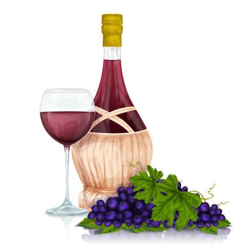 Jarra de vinho e cacho de uva vetor