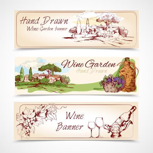 Conjunto de bandeiras de vinho vetor
