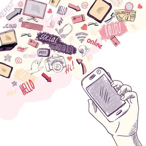 Mão segurando o telefone móvel com aplicativos de mídia social vetor