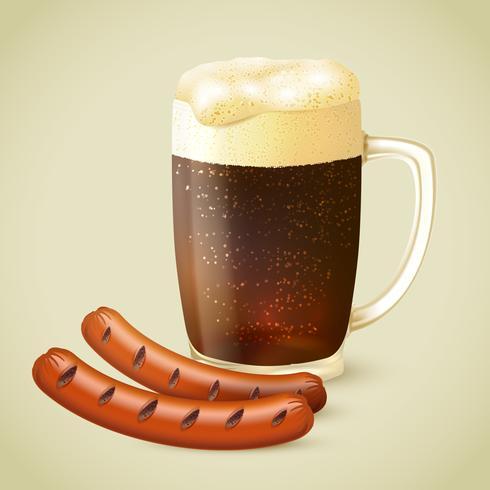 Cerveja escura e salsicha grelhada vetor