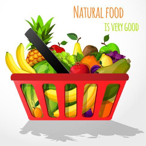 Frutas no cartaz de cesta de compras vetor