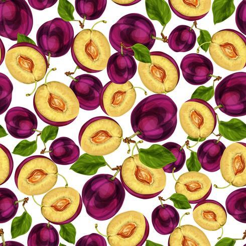 Teste padrão cortado da fruta sem emenda da ameixa vetor