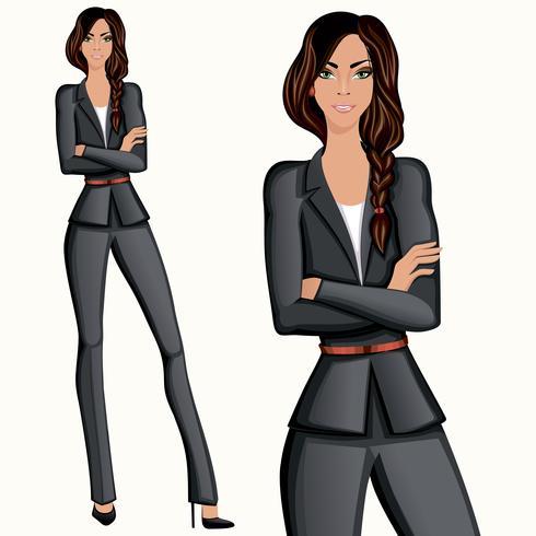 Mulher confiante atraente de estilo de negócios vetor