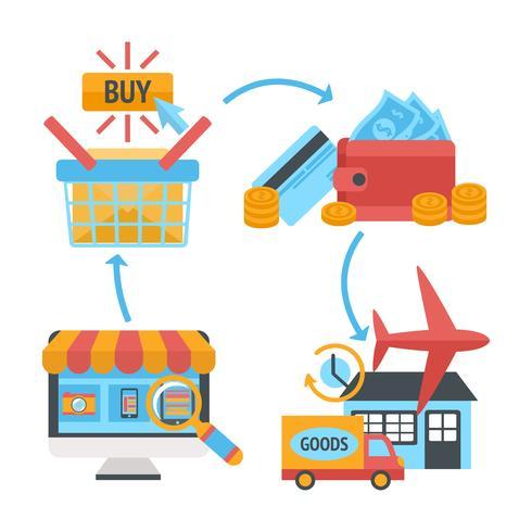 Conjunto de ícones de compras on-line site internet vetor