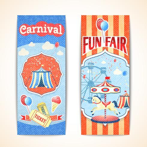 Banners de carnaval vintage verticais vetor