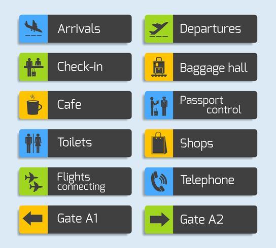 Conjunto de placas de sinal de navegação de aeroporto vetor