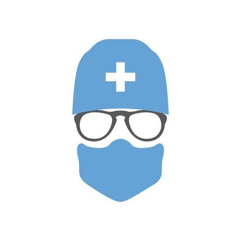 Cirurgião de avatar médico no chapéu e máscara. vetor