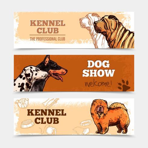 Conjunto de Banners de Cães vetor