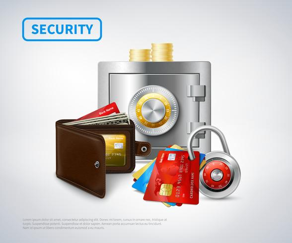 Conjunto de segurança realista de dinheiro vetor