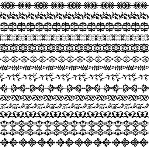 padrão de fronteira ornamentado preto vetor