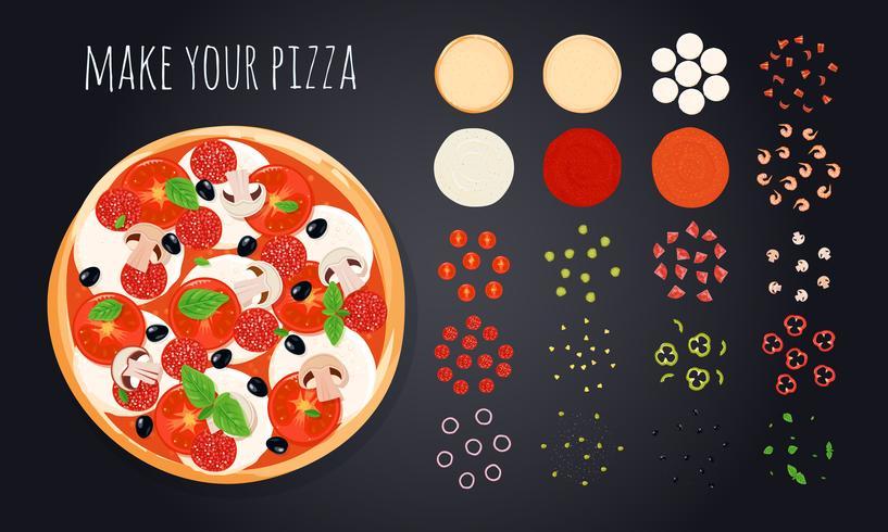 Faça Pizza Ingredientes Set vetor
