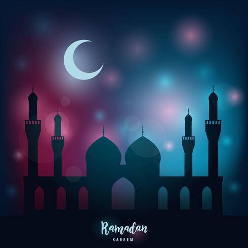 Ramadan kareem. Noite religiosa, mesquita sob a luz do mês e das estrelas. vetor