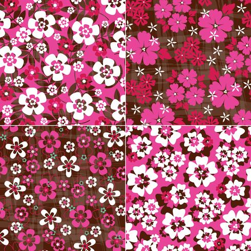 padrões florais tropicais marrons vermelhos rosa vetor