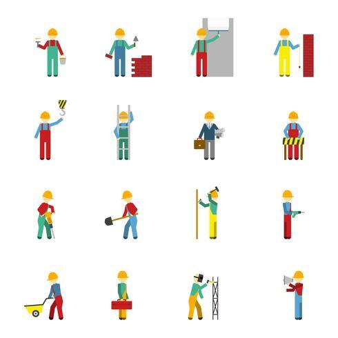 Conjunto de ícones plana de construtores vetor